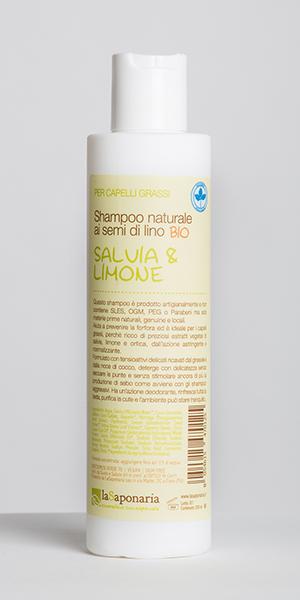Shampoo naturale ai semi di lino BIO con salvia e limone - La Saponaria (8 euro, 200 ml) [http://www.giardinodiarianna.com/index.php?p=o&i=2647]